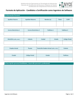 Formato de Aplicación - Candidato a Certificación como Arquitecto