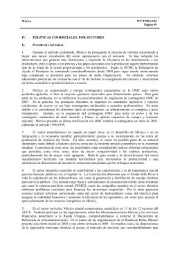 IV. POLÍTICAS COMERCIALES, POR SECTORES 1) P