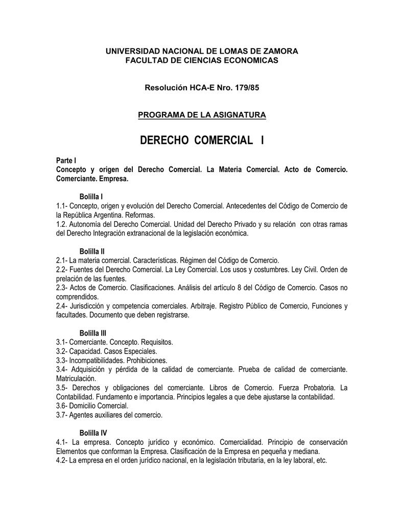 DERECHO COMERCIAL I - Facultad de Ciencias Económicas