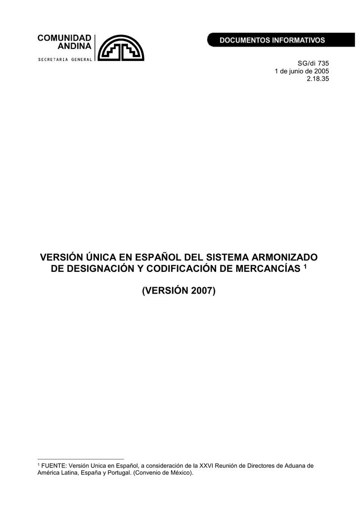 VERSIÓN ÚNICA EN ESPAÑOL DEL SISTEMA ARMONIZADO DE