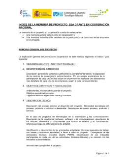 INDICE DE LA MEMORIA DE PROYECTO  EEA GRANTS EN... NACIONAL