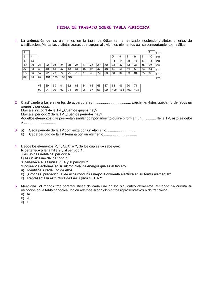 Ficha de trabajo sobre tabla peridica urtaz Choice Image