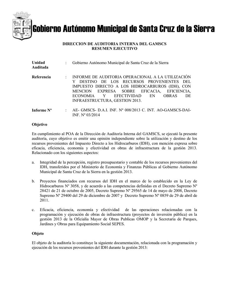 Unidad Auditada - Gobierno Municipal de Santa Cruz de la Sierra