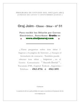 PROGRAMA DE ESTUDIO DEL SHULJAN ARUJ (CÓDIGO DE