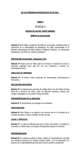 Codigo de Faltas - Municipalidad de Resistencia
