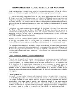 Responsabilidad Y Manejo De Riesgos Del Programa