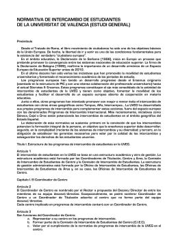 NORMATIVA DE LOS PROGRAMAS DE INTERCAMBIO DE