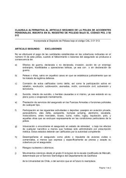 clausula alternativa al articulo segundo de la poliza de accidentes