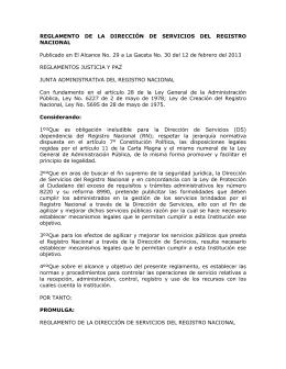 reglamento de la dirección de servicios del registro