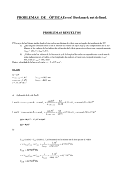 PROBLEMAS   DE    ÓPTICAError! Bookmark not... PROBLEMAS RESUELTOS