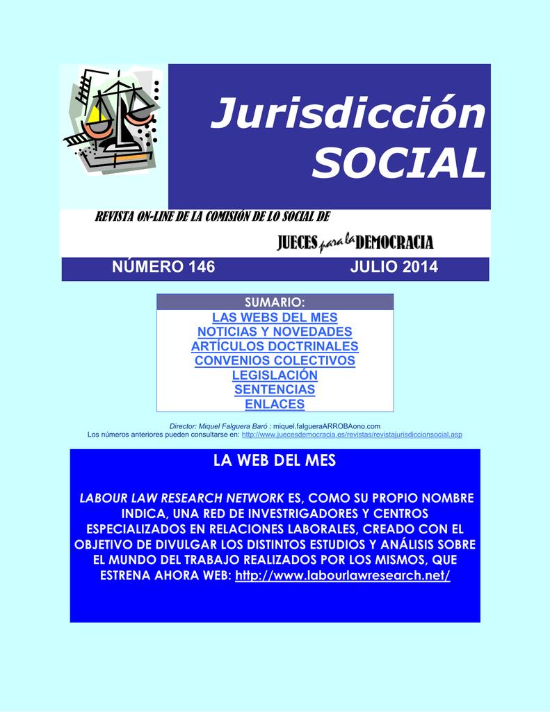 Revista de Jurisdicción Social número 146 del mes de Julio