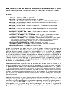 Real Decreto 1744-98 uso mat.curriculares