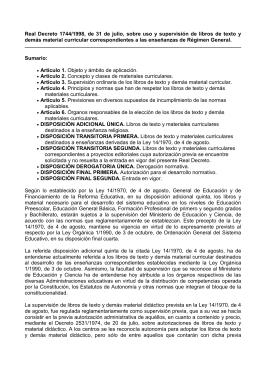 Real Decreto 1744-98 uso mat.curriculares
