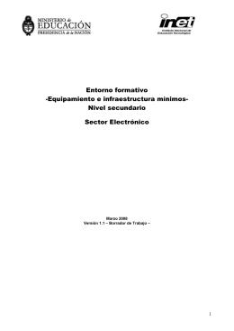Entorno formativo -Equipamiento e infraestructura mínimos- Nivel secundario Sector Electrónico