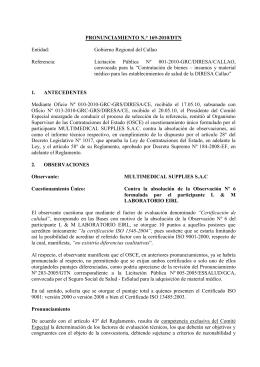 PRONUNCIAMIENTO N.° 169-2010/DTN  Entidad: Gobierno Regional del Callao