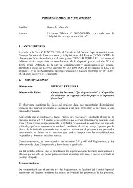 PRONUNCIAMIENTO Nº 007-2009/DOP