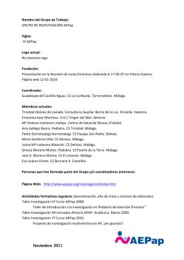 Nombre del Grupo de Trabajo: - Asociación Española de Pediatría