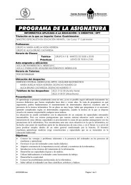 INFORMÁTICA APLICADA A LA EDUCACIÓN / 6 CRÉDITOS / OPT