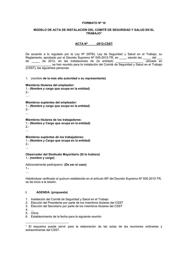 acta de constitucion e instalacion del comit