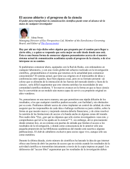 Open Access and the progress of science (in Spanish, en Espanol)