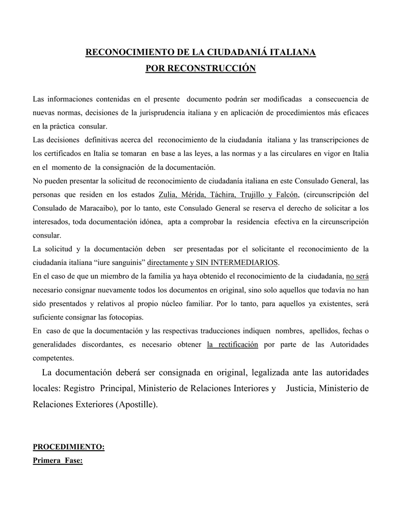 Vademecum Reconstruccion - Consolato generale d`Italia a Caracas