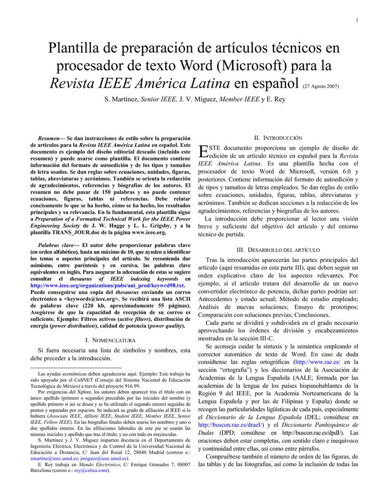 Formato Modelo IEEE 2007 - Universitaria de Investigación y