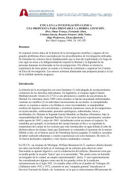 Etica en la investigación clínica Una propuesta para prestarle la