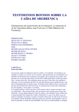TESTIMONIOS BOSNIOS SOBRE LA CAÍDA DE SREBRENICA