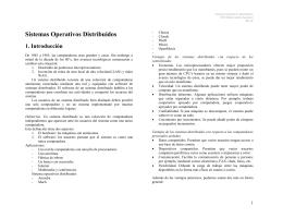 Sistemas Operativos Distribuidos 1. Introducción