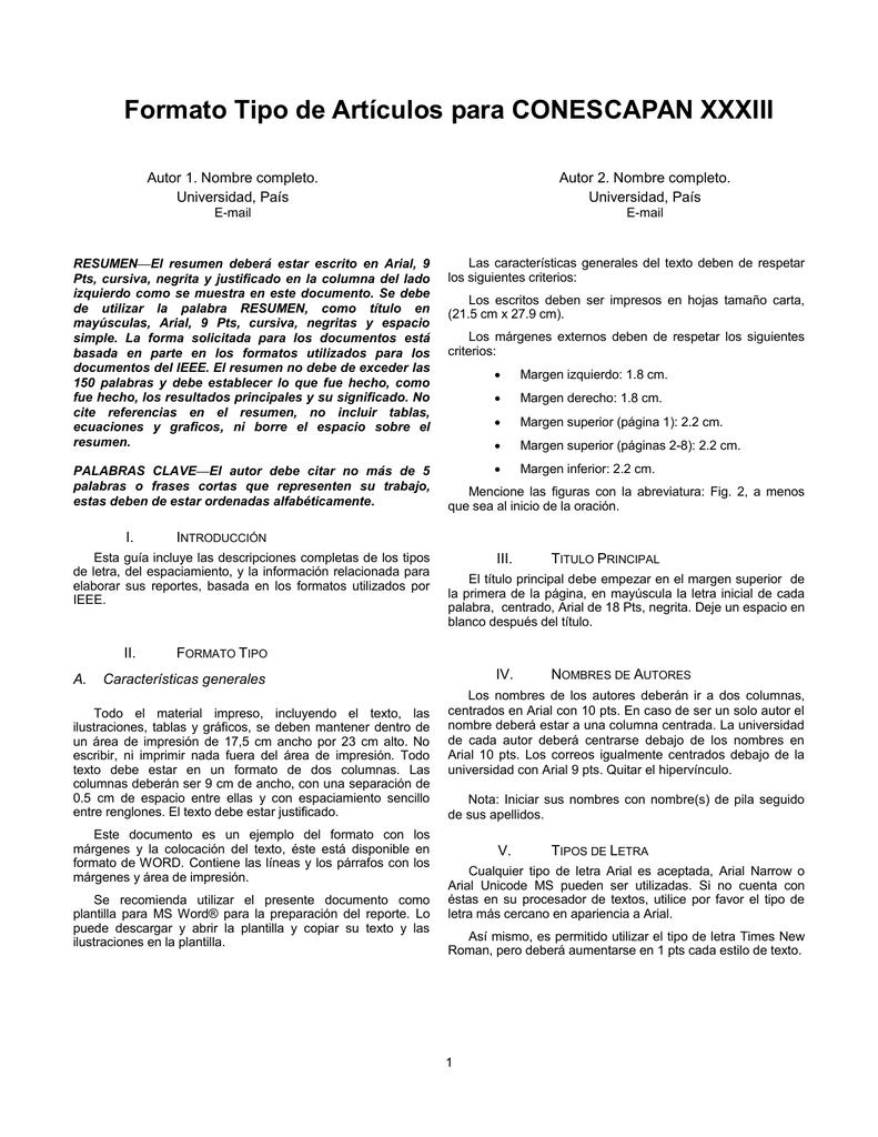 Formato Tipo articulos CONESCAPAN XXXIII