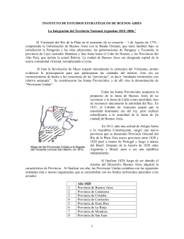 """""""La Integración del Territorio Nacional Argentino 1810"""