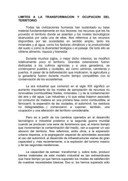 LIMITES A LA TRANSFORMACION Y OCUPACION DEL TERRITORIO