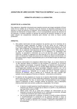"""ASIGNATURA DE LIBRE ELECCIÓN """"PRÁCTICAS EN EMPRESA"""