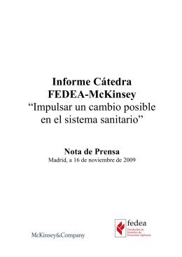 """Informe Cátedra FEDEA-McKinsey """"Impulsar un cambio posible en el sistema sanitario"""""""