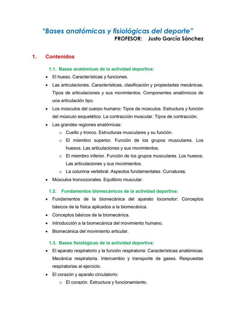 """Bases anatómicas y fisiológicas del deporte"""" 1. Contenidos"""