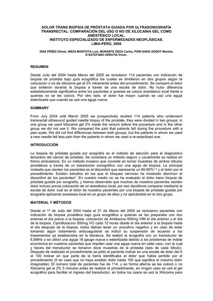 biopsia de próstata con ciprofloxacina