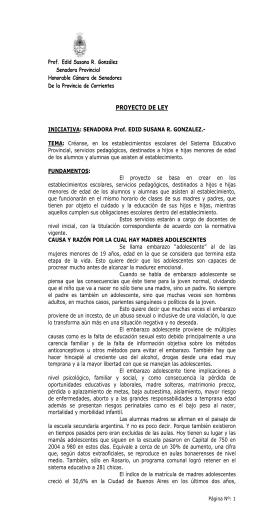 Proyecto de Ley presentado por la Senadora Edid Susana
