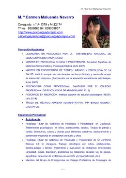 M. ª Carmen Maluenda Navarro  Colegiada  n.º A-1379 y M-22174
