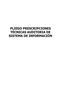 PLIEGO PRESCRIPCIONES TÉCNICAS AUDITORIA DE SISTEMA DE INFORMACIÓN