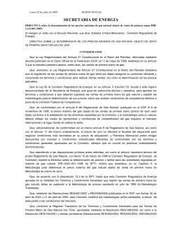 directiva sobre la determinación de los precios máximos de gas
