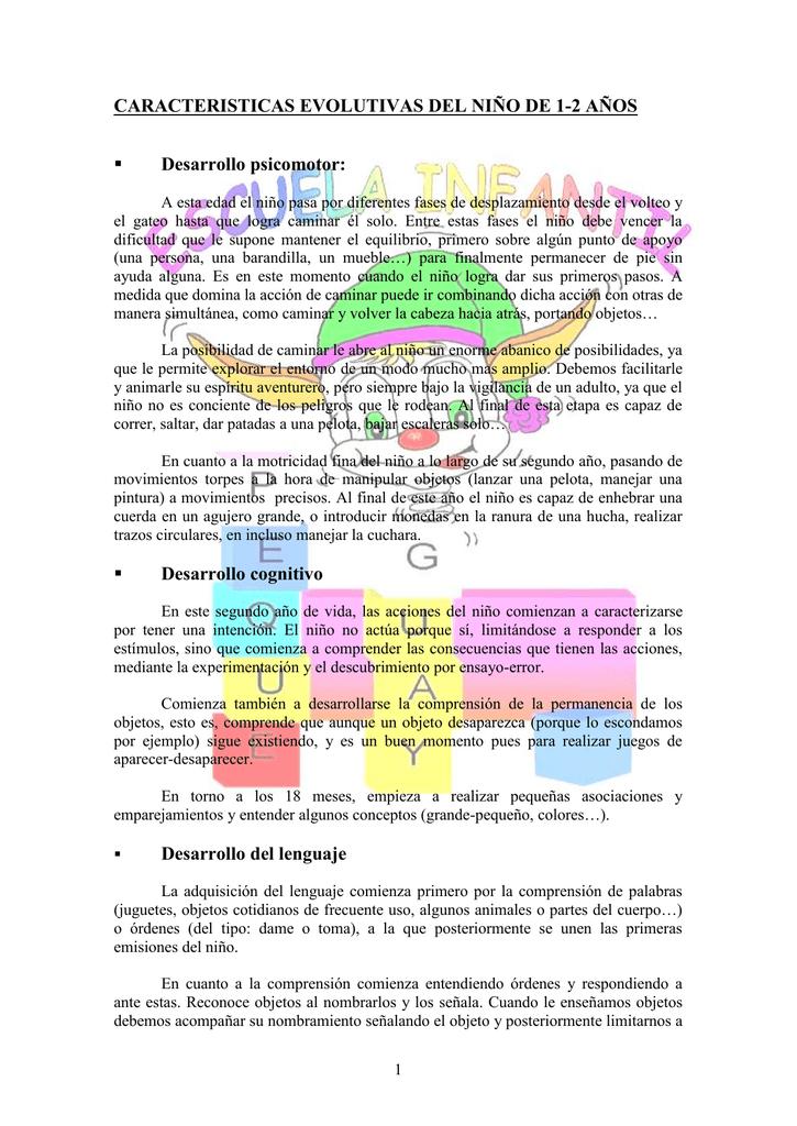 1 Niño 2 De Evolutivas Caracteristicas Del Años Fc1KTlJ3