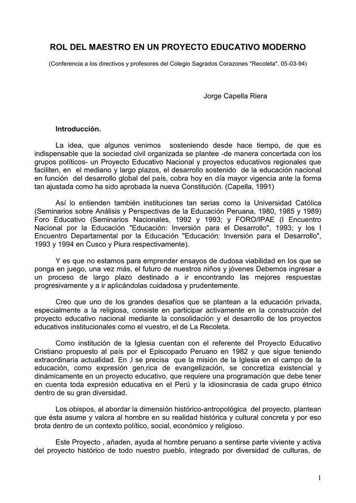 54fa846111 ROL DEL MAESTRO EN UN PROYECTO EDUCATIVO MODERNO (Conferencia a los  directivos y profesores del Colegio Sagrados Corazones