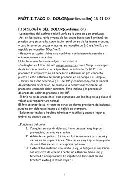 FISIOLOGÍA DEL DOLOR(continuación)