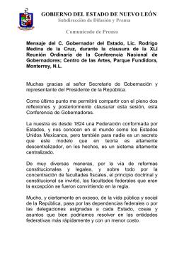 Mensaje del C. Gobernador del Estado, Lic. Rodrigo Medina de