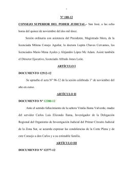 Nº 100-12 CONSEJO  SUPERIOR  DEL  PODER  JUDICIAL.-