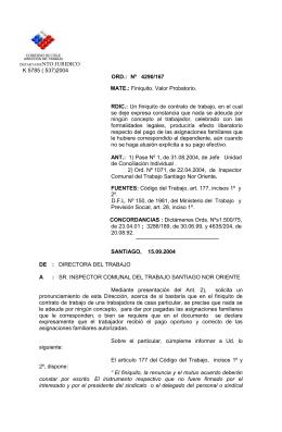 ORD. Nº 4290/167 - Dirección del Trabajo