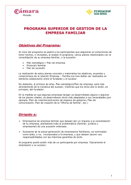 PROGRAMA SUPERIOR DE GESTION DE LA EMPRESA FAMILIAR