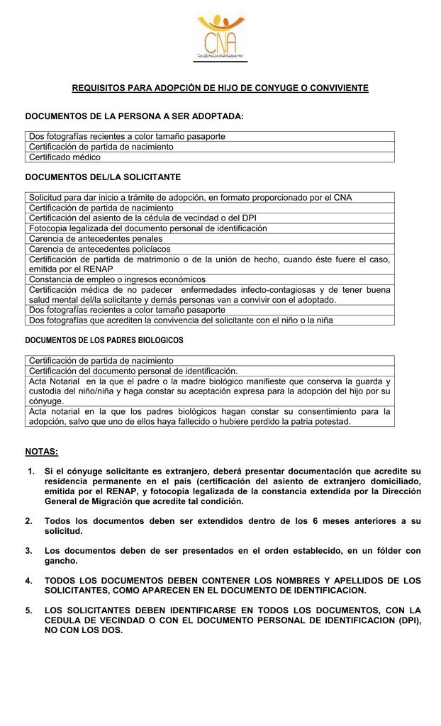 Requisitos para Adopción de hijo de Conyuge
