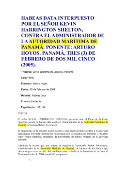 habeas data interpuesto por el señor kevin harrington shelton