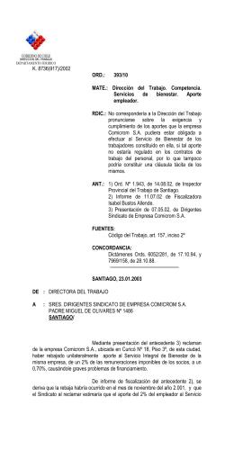 ORD. Nº 393/10 - Dirección del Trabajo